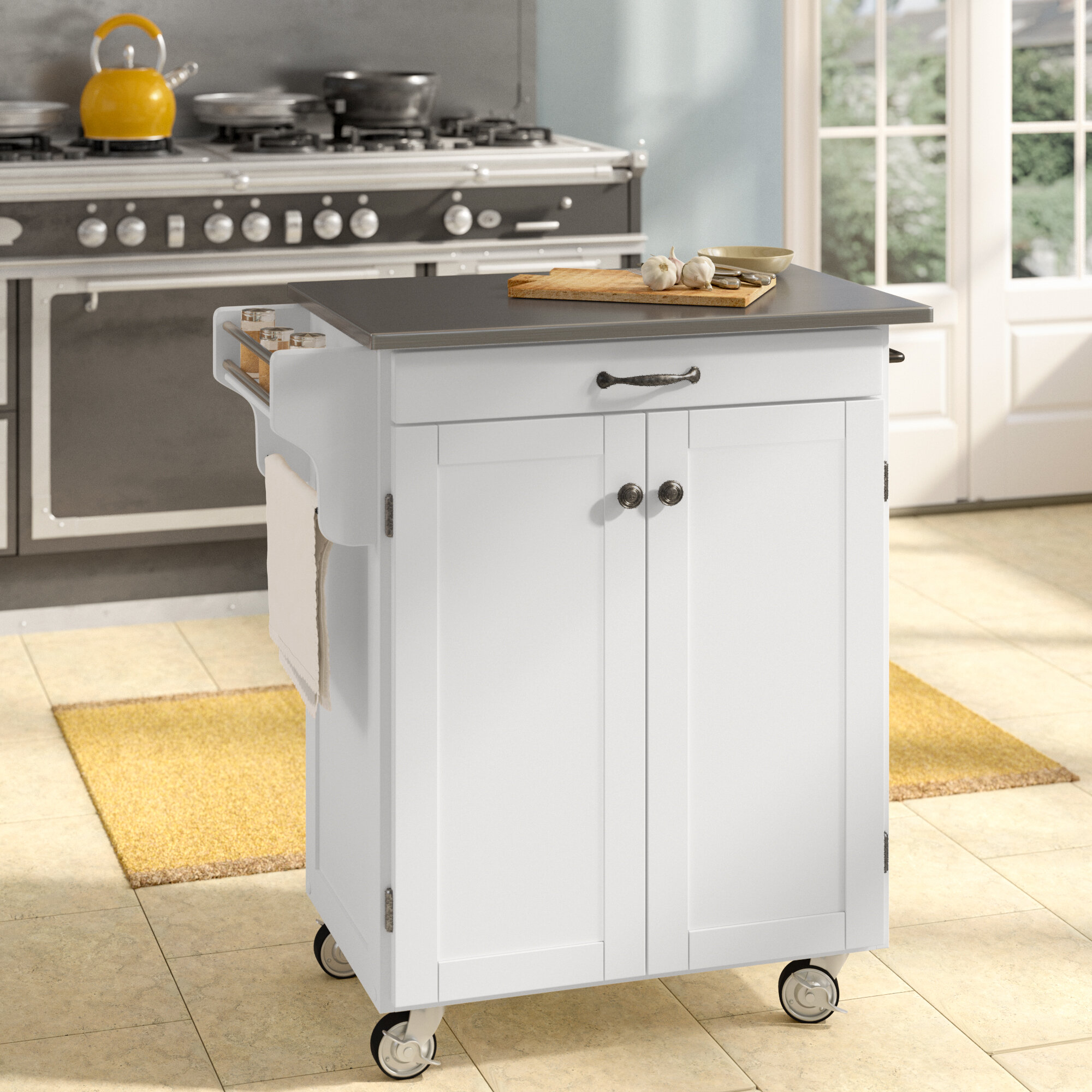 August Grove Savorey 32 5 Solid Wood Kitchen Cart With Stainless Steel Top And Locking Wheels Reviews Wayfair
