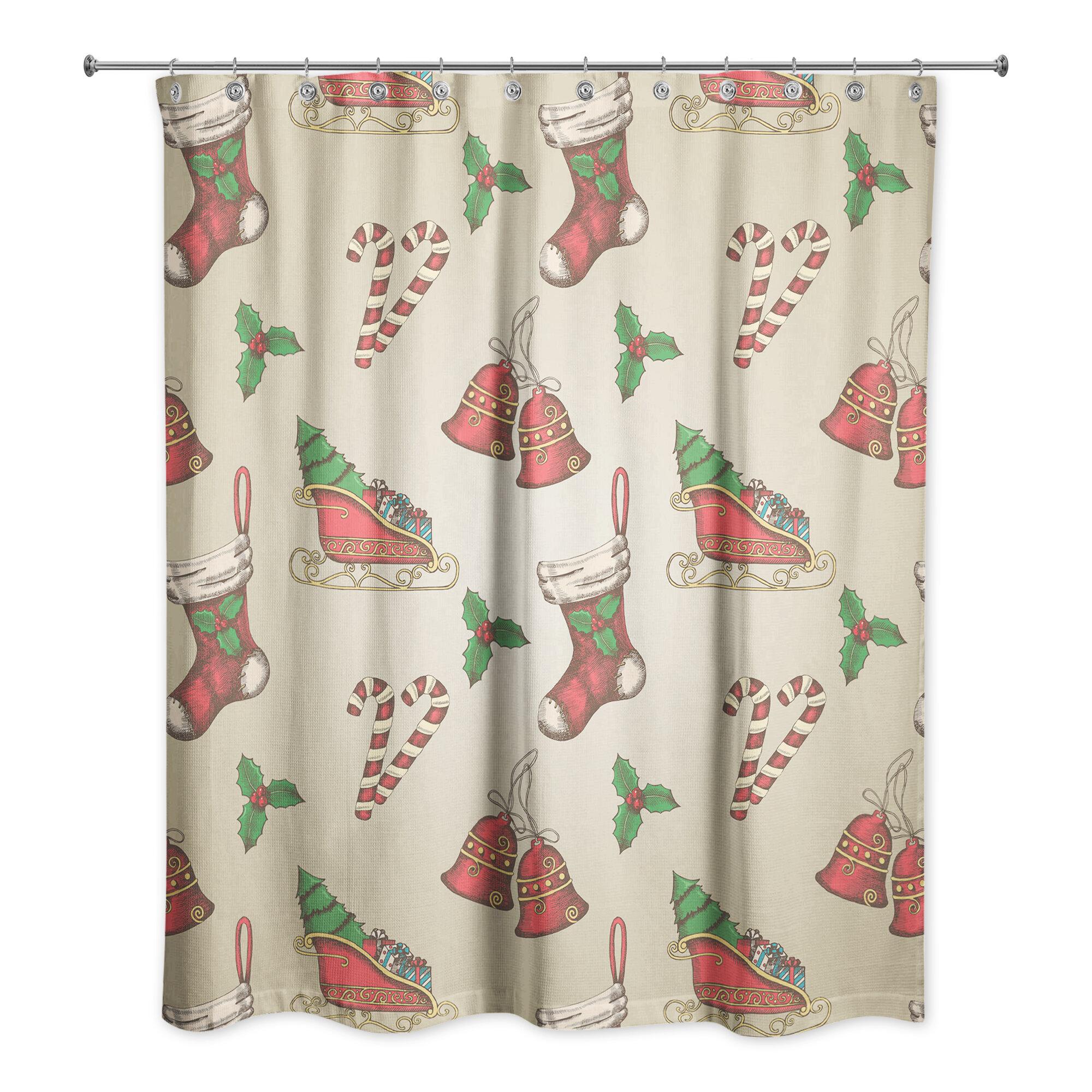 The Holiday Aisle Vonda Christmas Pattern Single Shower Curtain Wayfair