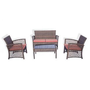 Cabrales 4 Piece Rattan Sofa Seating Group with Cushions