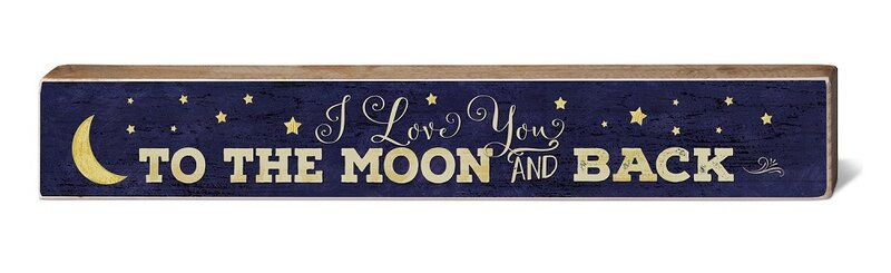 cf849489b54 Harriet Bee Love You to Moon and Back Rustic Wood Block Wall Décor ...