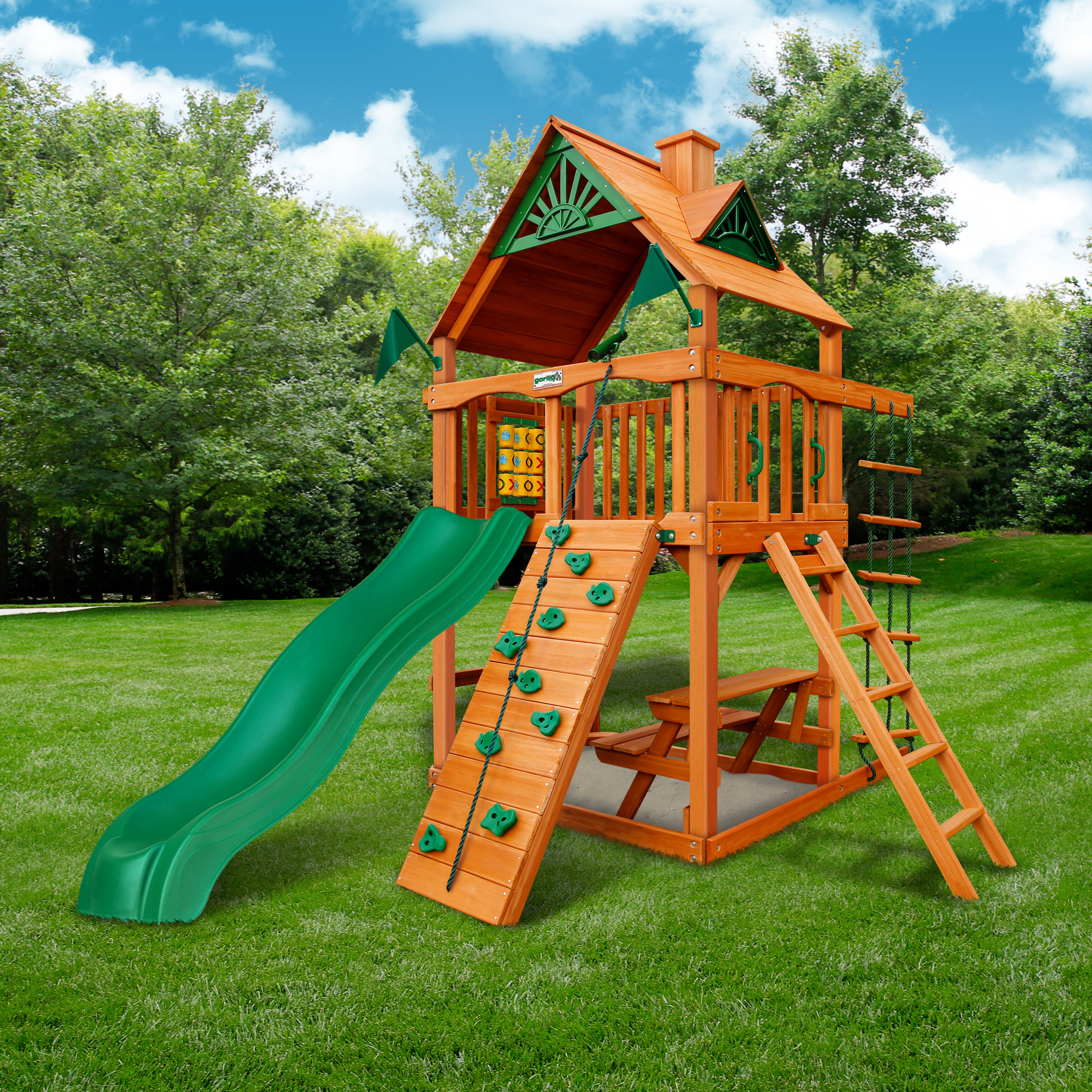 Gorilla Playsets Chateau Tower Swing Set With Wood Roof Reviews