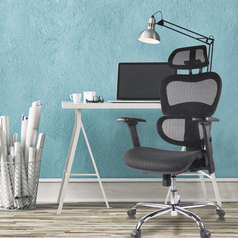 Black Chair and White Desk in Office