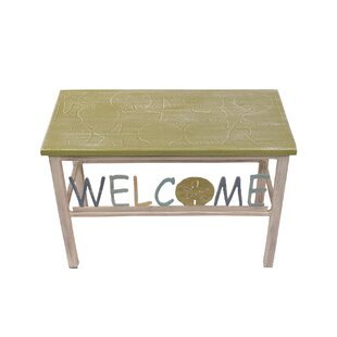 Highland Dunes Iser Multi Shell Welcome Sand Dollar Wood Bench