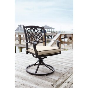 Hanson Swivel Patio Dining Chair with Cushion (Set of 2)