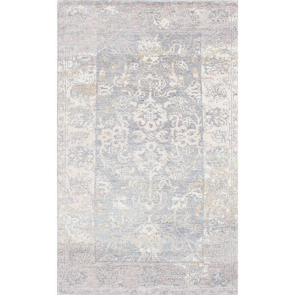 One Allium Way Cayla Hand Knotted Blue Beige Area Rug Wayfair