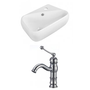 Best Reviews Ceramic 17.5 Wall Mount Bathroom Sink with Faucet and Overflow By Royal Purple Bath Kitchen