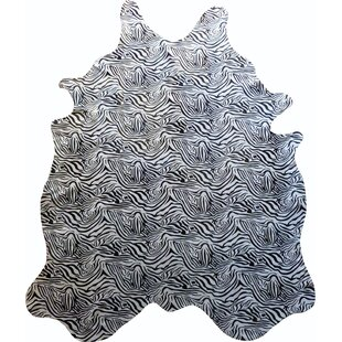 Top Reviews Stenciled Baby Zebra Brazilian Cowhide Black/White Area Rug ByChesterfield Leather
