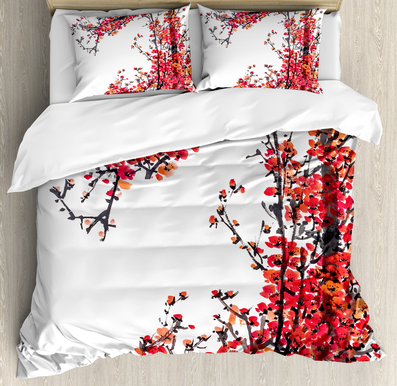 Ambesonne Traditional House Japanese Cherry Blossom Sakura Branch Made With Brush Artsy Image Duvet Cover Set Reviews Wayfair