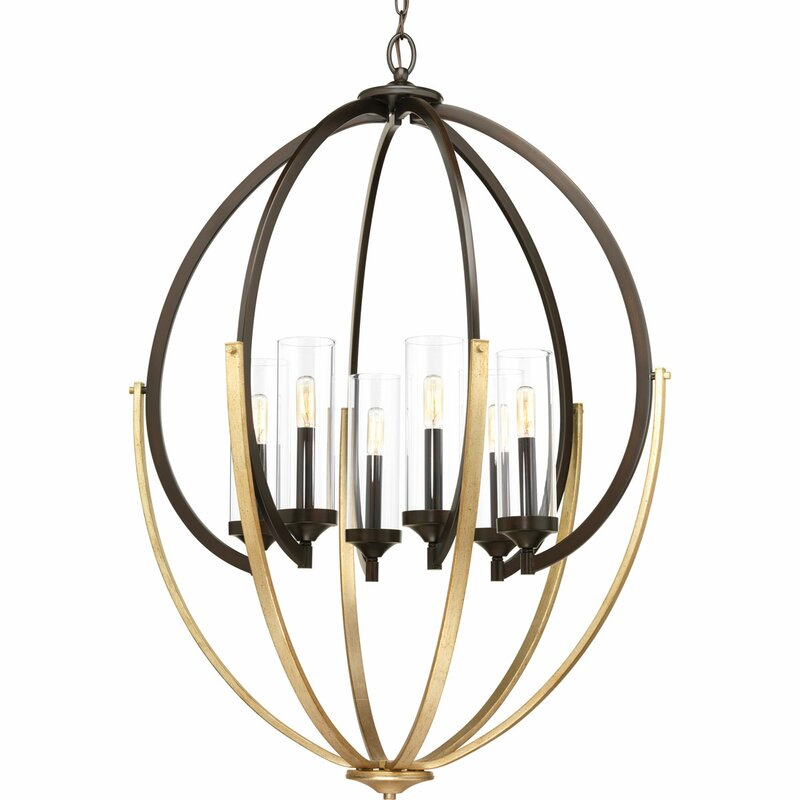 Brayden Studio Zaleski 6 Light Candle Style Globe Chandelier Reviews Wayfair