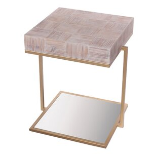 St. Charles Wood Mirrored End Table