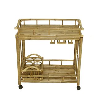 Winkfield Bamboo Outdoor Rolling Buffet and Bar Cart