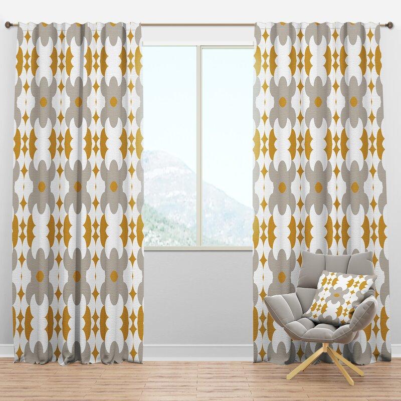 Designart Mid Century Retro Design Xviii Semi Sheer Thermal Rod Pocket Single Curtain Panel Wayfair