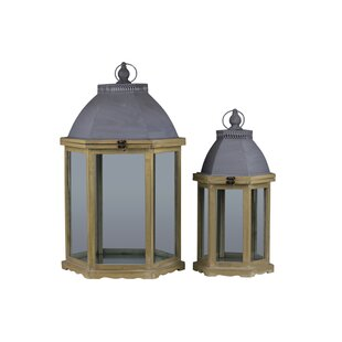 2 Piece Wood Lantern Set with Cast Iron Top by Urban Trends