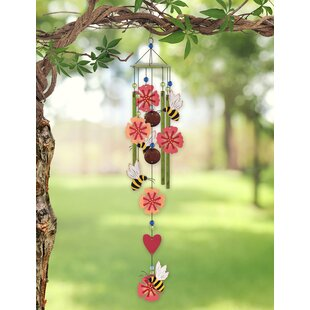 Perfect For Home and Garden Mixed Ornament Beads N Bells Stunning Flower Wind Chime Handmade with Iron