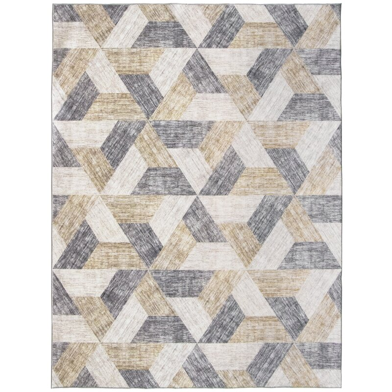 George Oliver Granada Geometric Flatweave Tan Gray Ivory Area Rug Reviews Wayfair