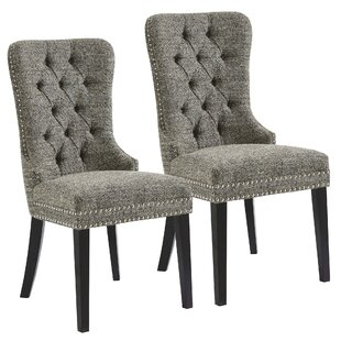 Meleze Multi Tone Fabric Upholstered Dining Chair (Set of 2)