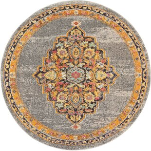 Lundy Traditional Medallion Gray/Orange Area Rug by World Menagerie