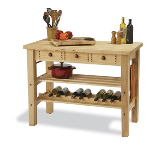 Arts and Crafts Kitchen Island with Butcher Block by Snow River Reviews