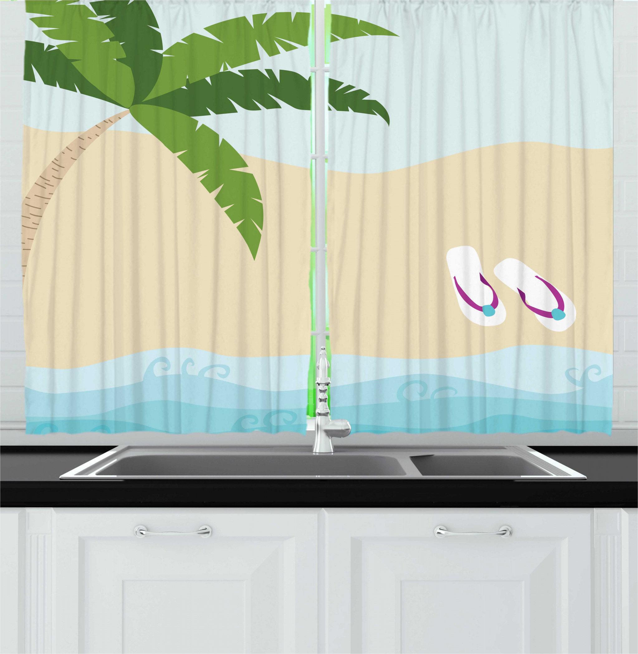 East Urban Home 2 Piece Graphic Beach Summer Cartoon Of Palm Tree And Flip Flops On Sandy Ocean Coast Print Kitchen Curtain Set Wayfair