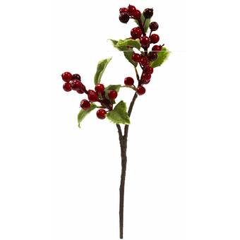 The Holiday Aisle 6 Piece Holly Berry Branch | Wayfair