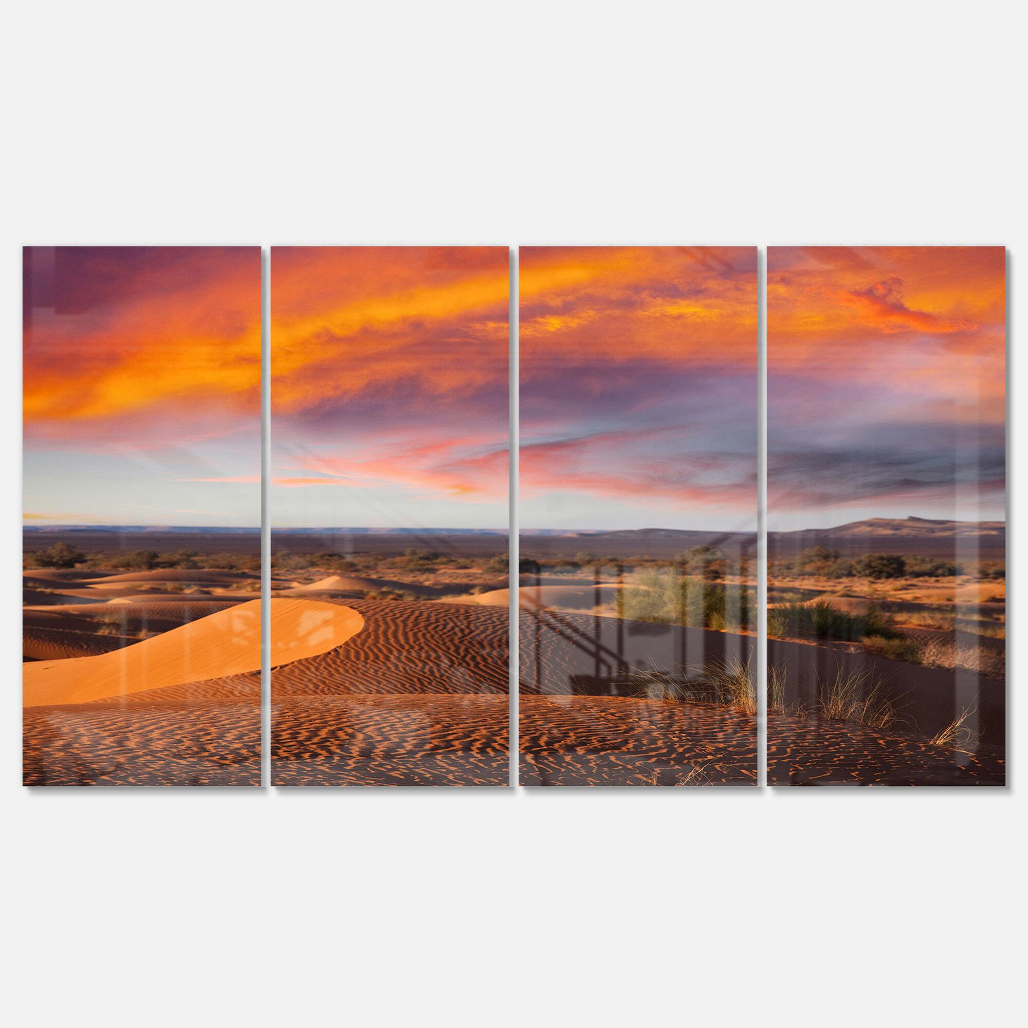 Designart Sahara Dunes Under Colorful Sky 4 Piece Photographic Print On Metal Set Wayfair