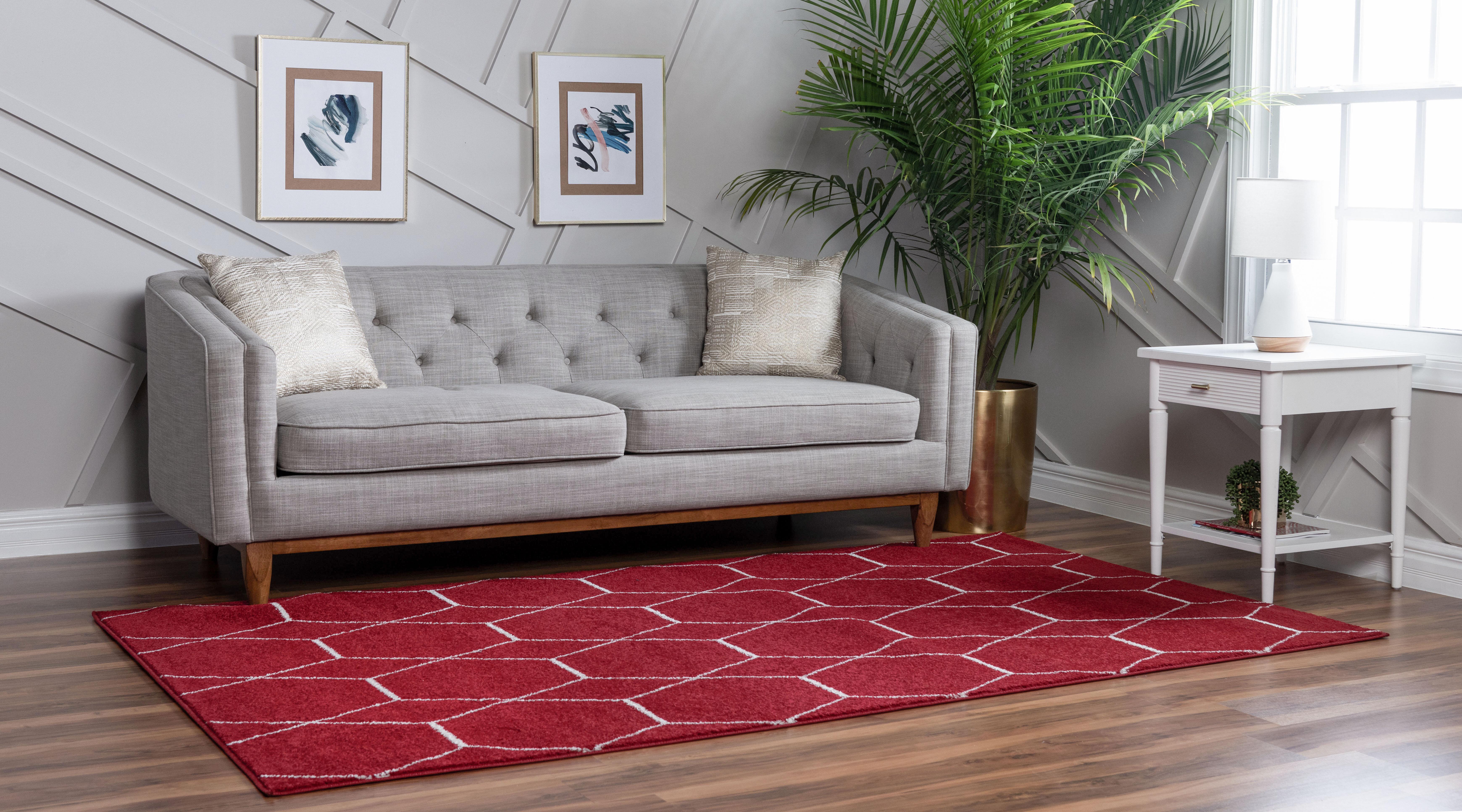 Wrought Studio Lillie Geometric Red Area Rug Reviews Wayfair