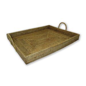 Rattan Rectangular Tray with Hoop Handles