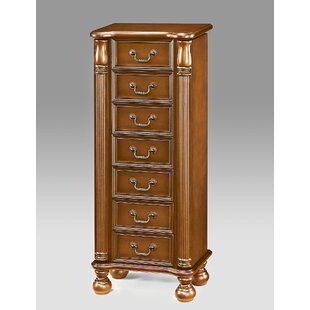 A&J Homes Studio Lopez Free Standing Jewelry Armoire with Mirror