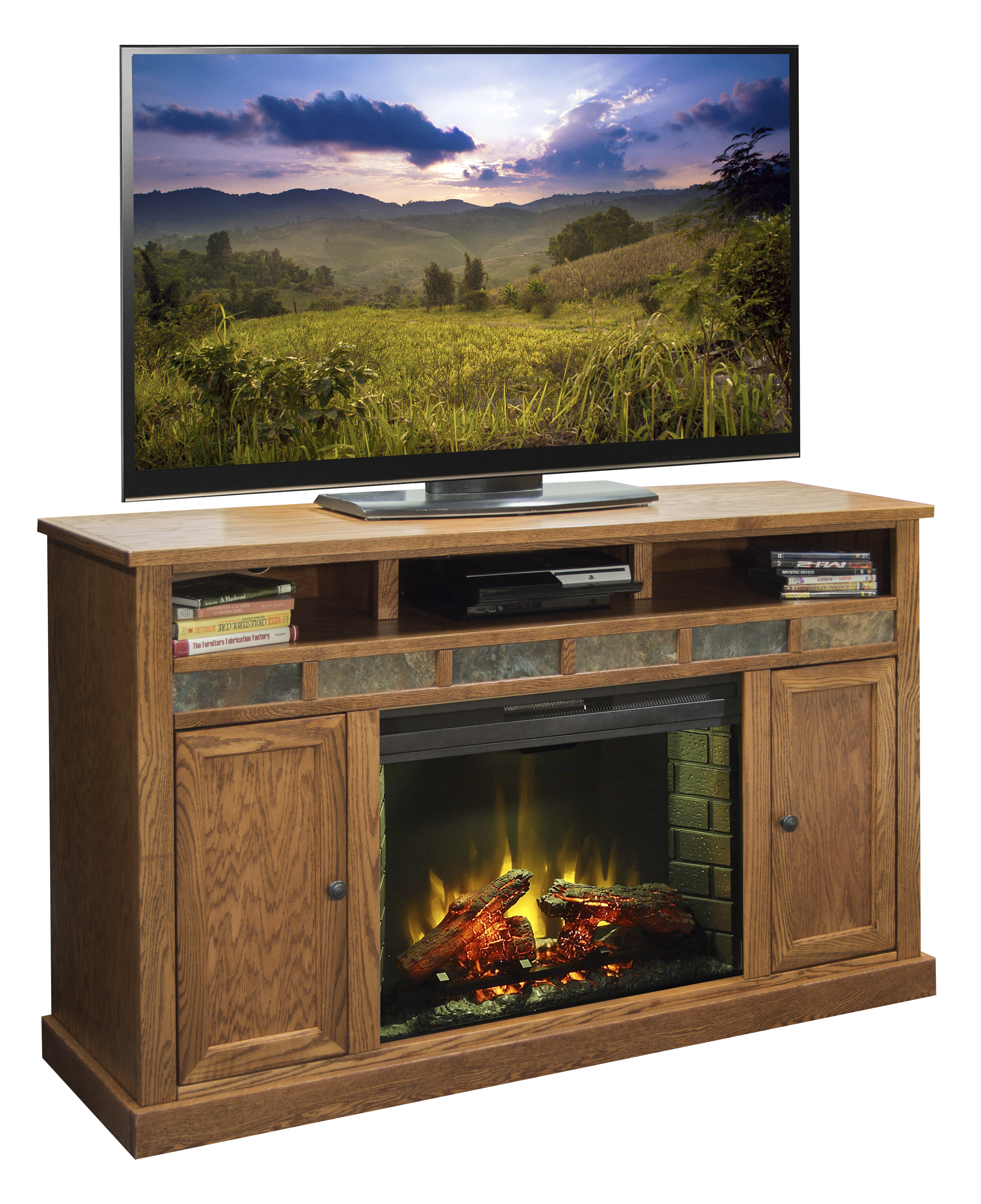 Lovely Tv Cabinet with Electric Fireplace