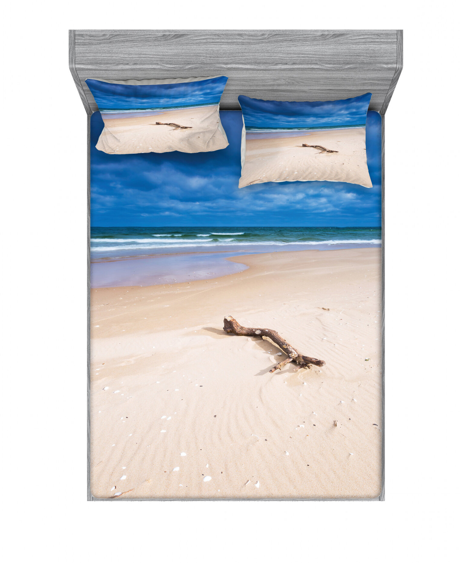 East Urban Home Driftwood On The Deserted Sandy Beach And The Cloudy Sky Image Sheet Set Wayfair