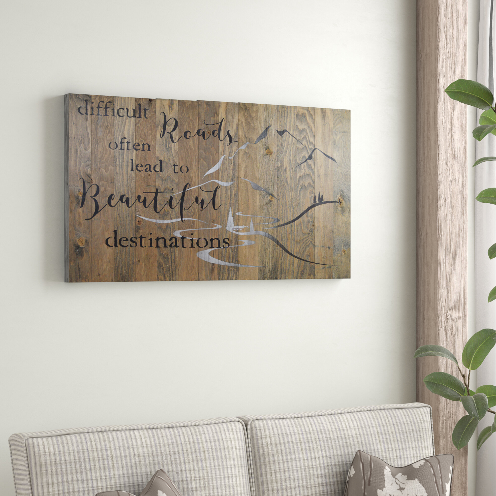 Wooden Door Wall Plaque Never let the things you want make you forget the things