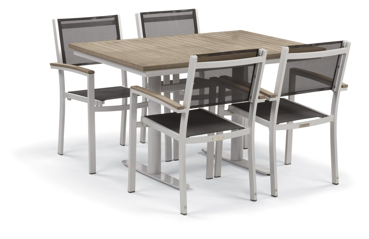Farmington Contemporary 5 Piece Dining Set With Leg End Caps