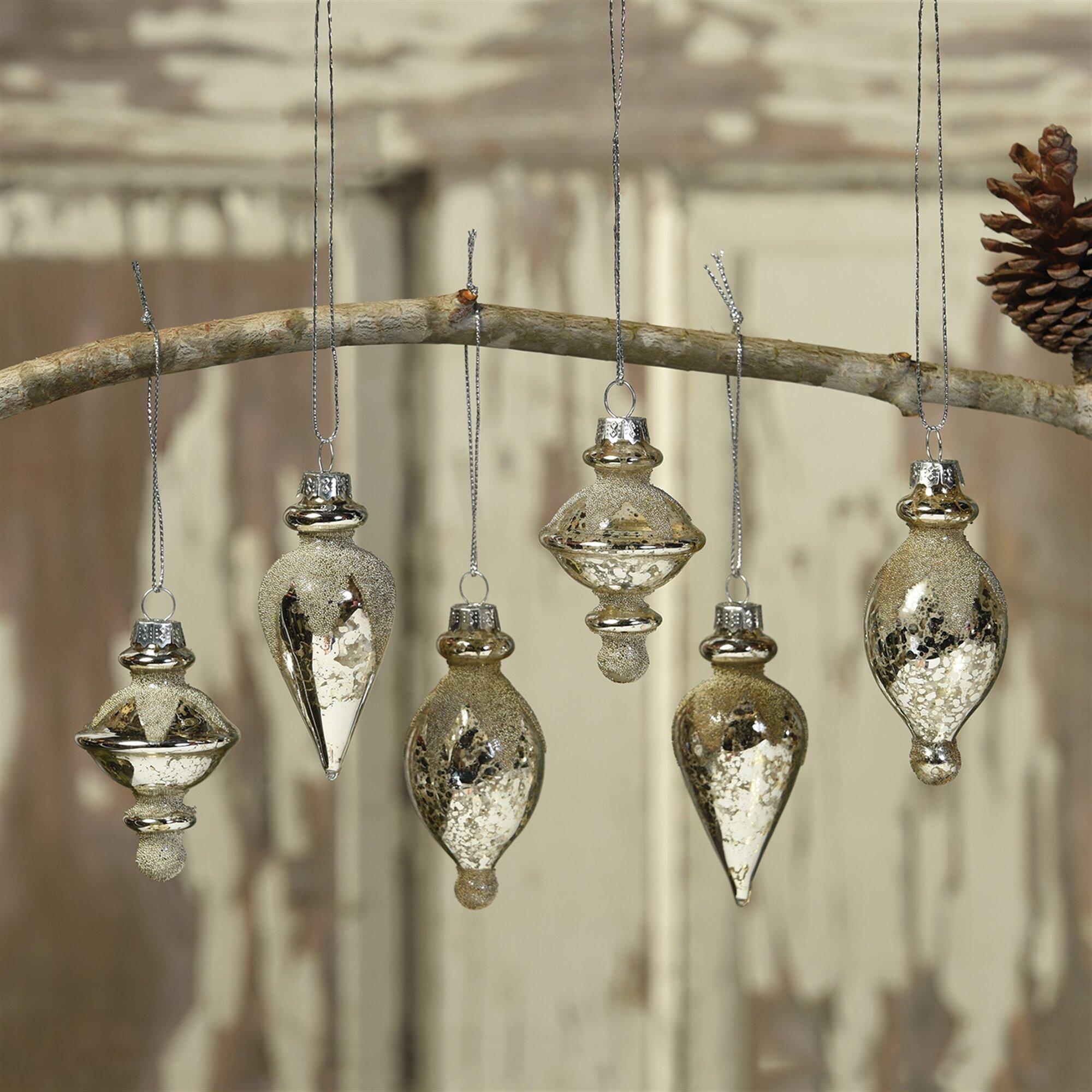 The Holiday Aisle 6 Piece Glass Finial Ornament Set Reviews Wayfair