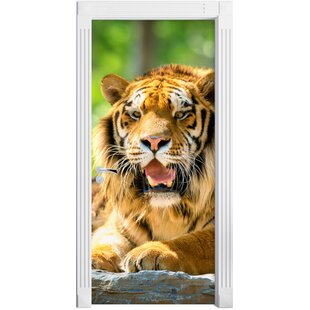 Majestic Tiger On A Rock Door Sticker By East Urban Home