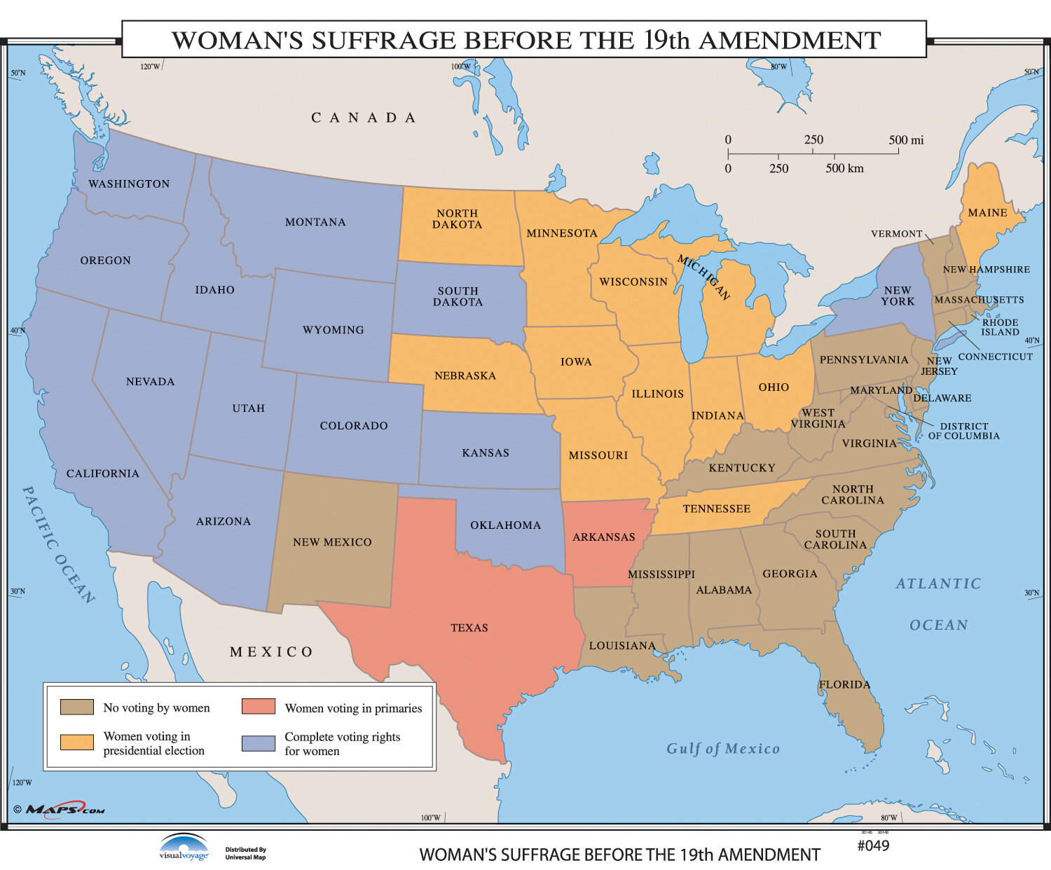 U.S. History Wall Maps - Woman\'s Suffrage Before 19th Ammendment