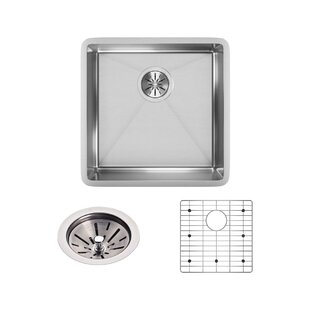 Crosstown 19 x 19 Under-mount Kitchen Sink with Sink Grid and Drain Assembly by Elkay