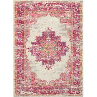 Best Dorset Ivory/Fuchsia Indoor Area Rug By Mercury Row