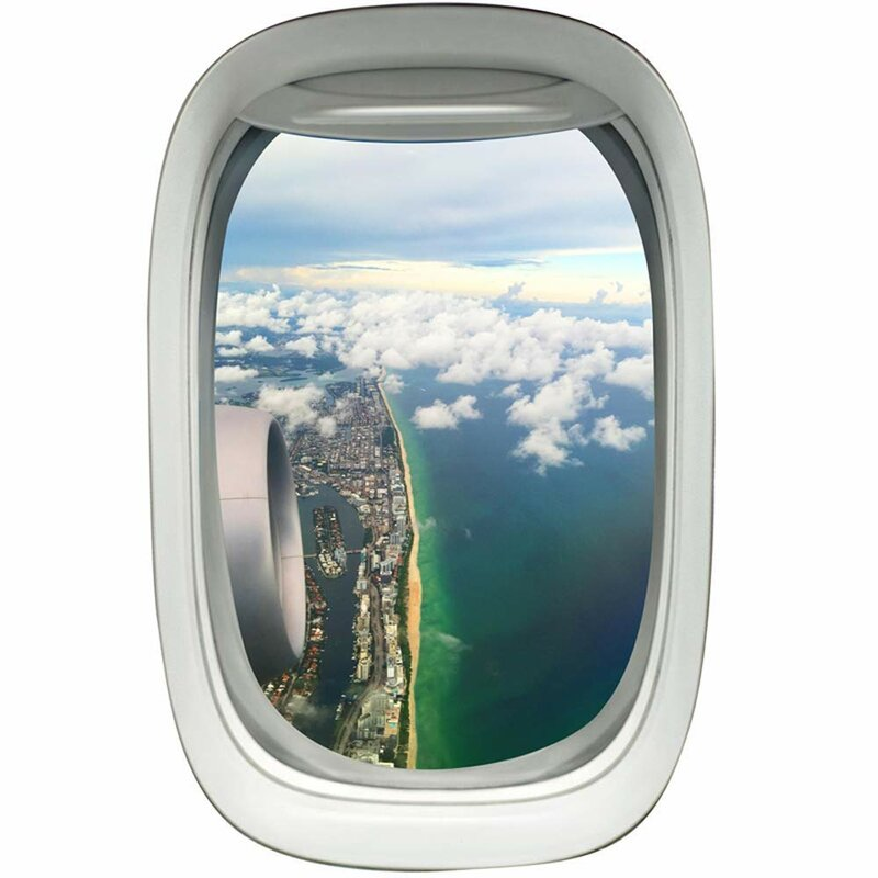 Vwaq Commercial Airplane Window Decal Beach Coastline Scene Wall