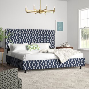 Edford Nail Button Border Crossweave Upholstered Panel Bed