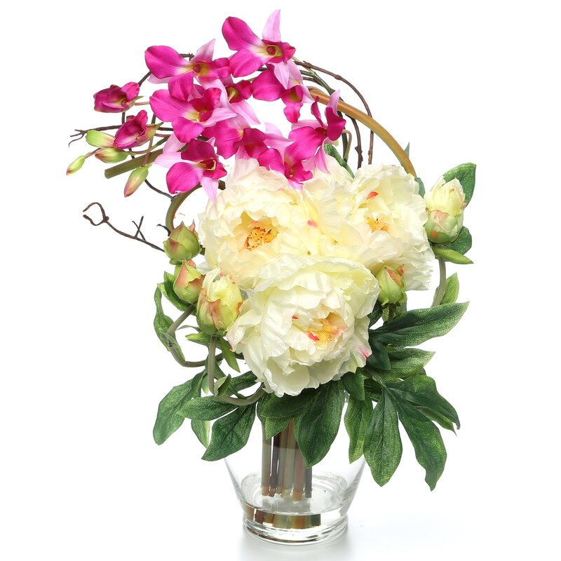 floral home decor orchid floral design wayfair.htm august grove angie peonies orchids floral arrangements in vase  august grove angie peonies orchids