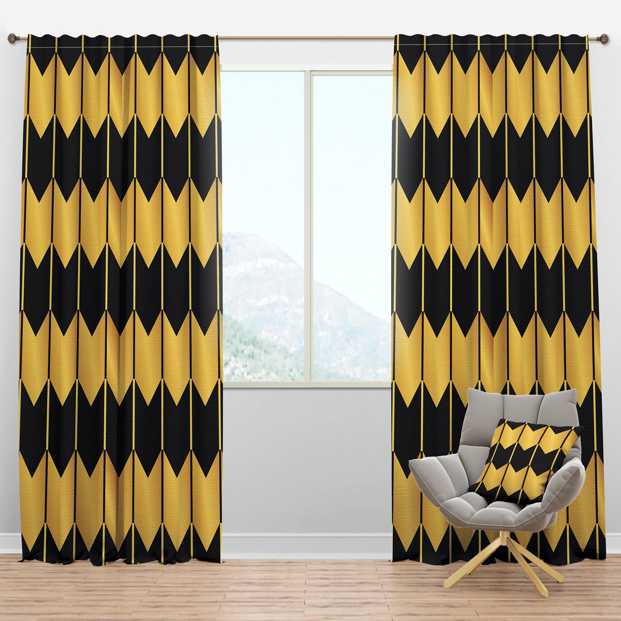 Designart Mid Century Luxury Metallic V Geometric Semi Sheer Thermal Rod Pocket Curtain Panels Wayfair