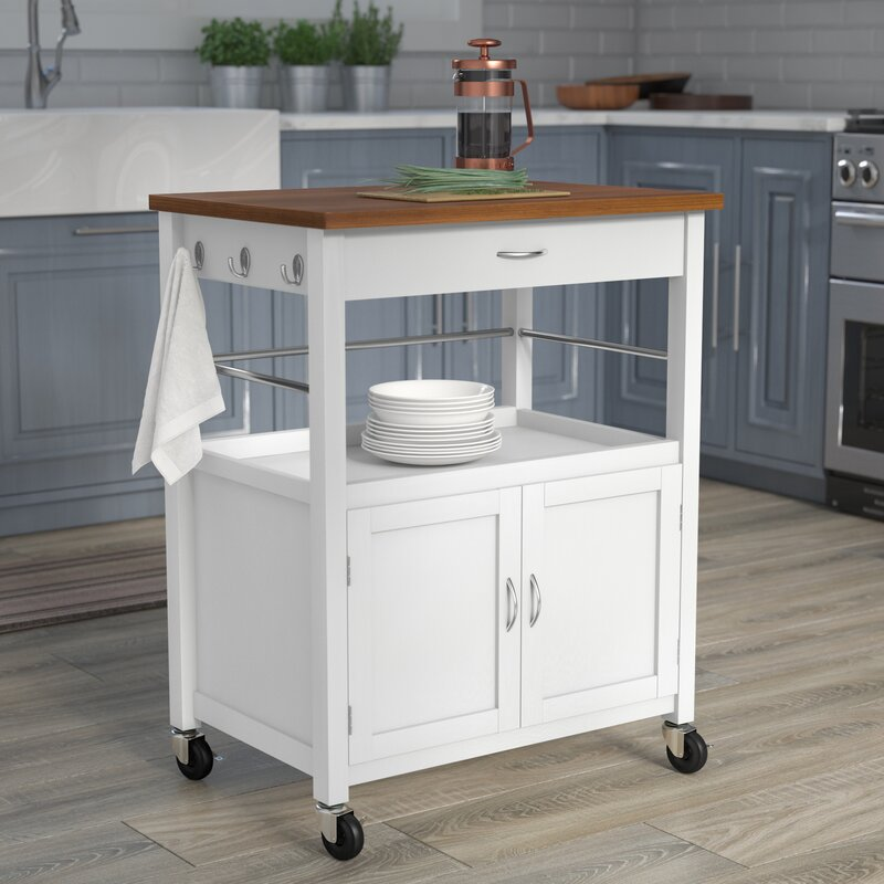 Guss Kitchen Island Cart With Natural Butcher Block Bamboo Top