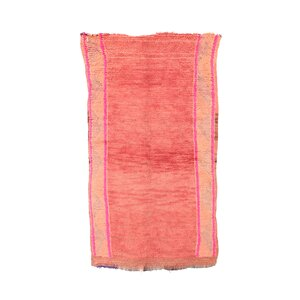 Boujad Vintage Moroccan Hand-Knotted Wool Pink Area Rug