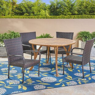 Highland Dunes Sprenger 5 Piece Teak Dining Set