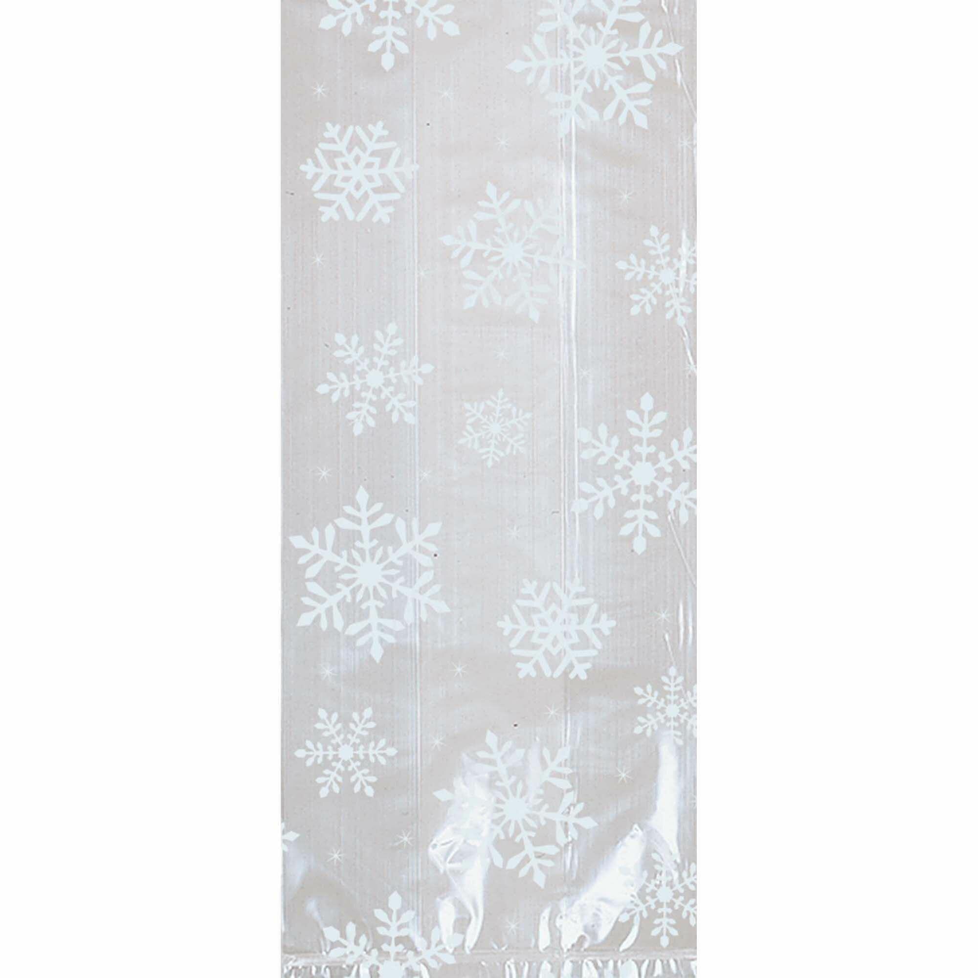 Christmas White Snowflake Large Cellophane Party Bag