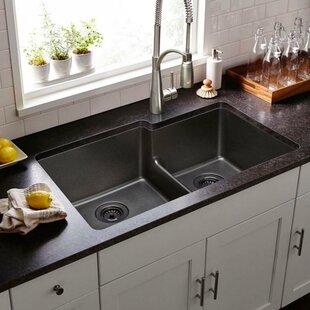 Quartz Classic 33 L X 21 W Double Basin Undermount Kitchen Sink With Aqua Divide