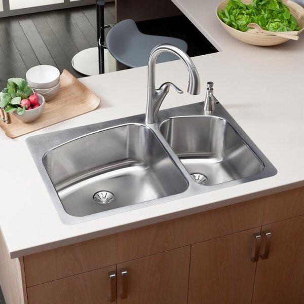 Elkay lustertone 33 x 22 double basin top mount kitchen sink with elkay lustertone 33 x 22 double basin top mount kitchen sink with perfect drain reviews wayfair workwithnaturefo