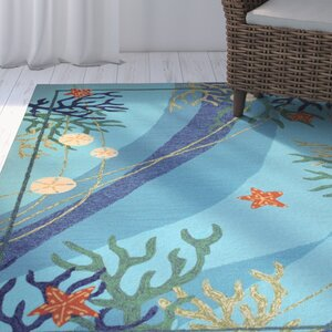 Coeymans Underwater Blue Coral and Starfish Indoor/Outdoor Area Rug