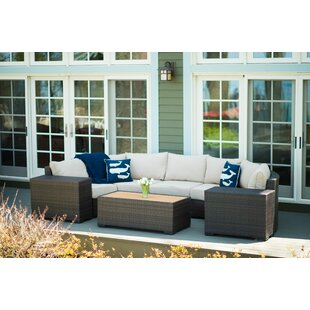 Rosecliff Heights Darden 6 Piece Rattan Sectional Seating Group with Cushions