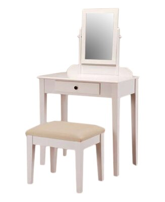 Andover Mills Mooney Vanity Set with Mirror Color: White